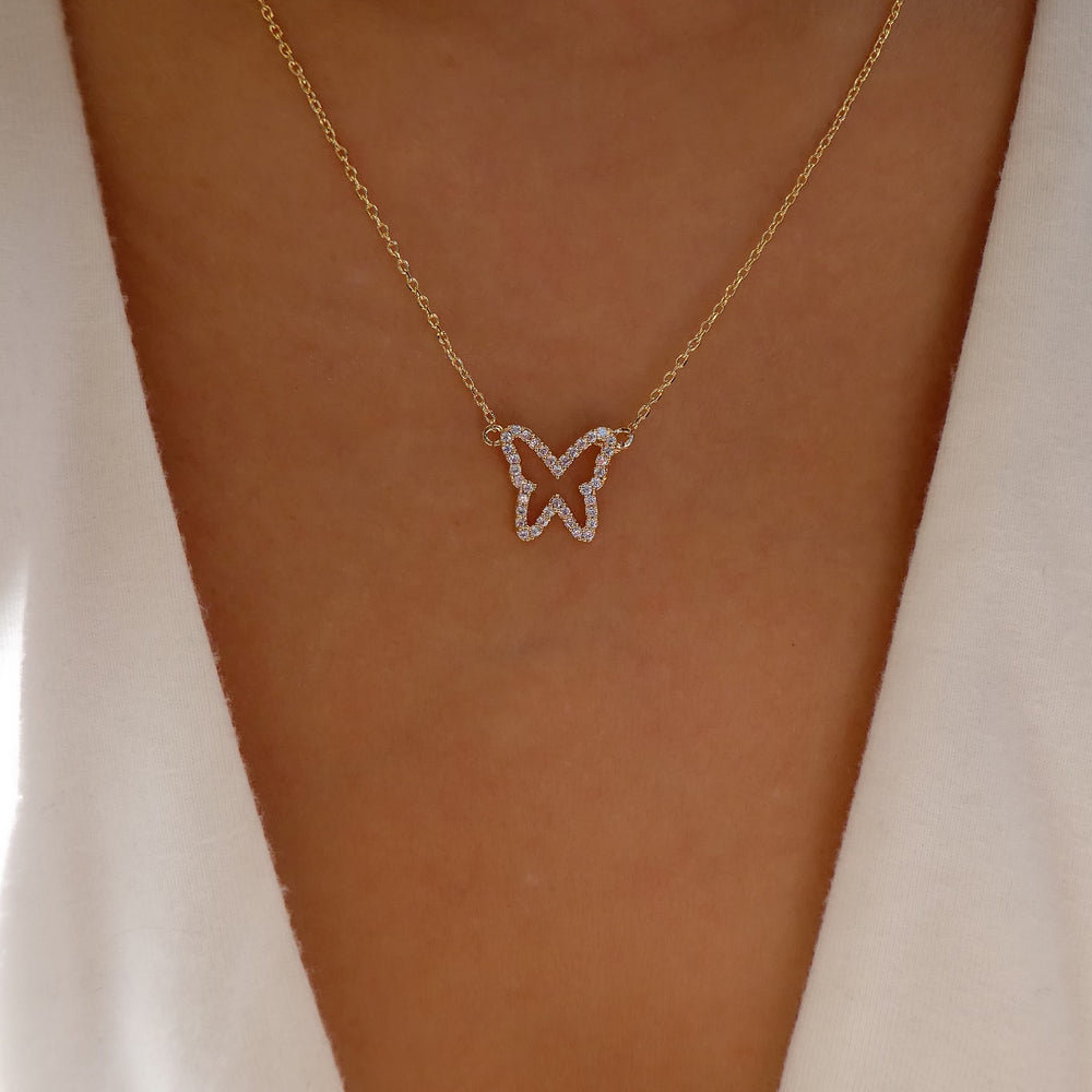 18K Pandora Butterfly Necklace