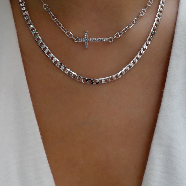 Silver Logan Cross Chain Necklace Set