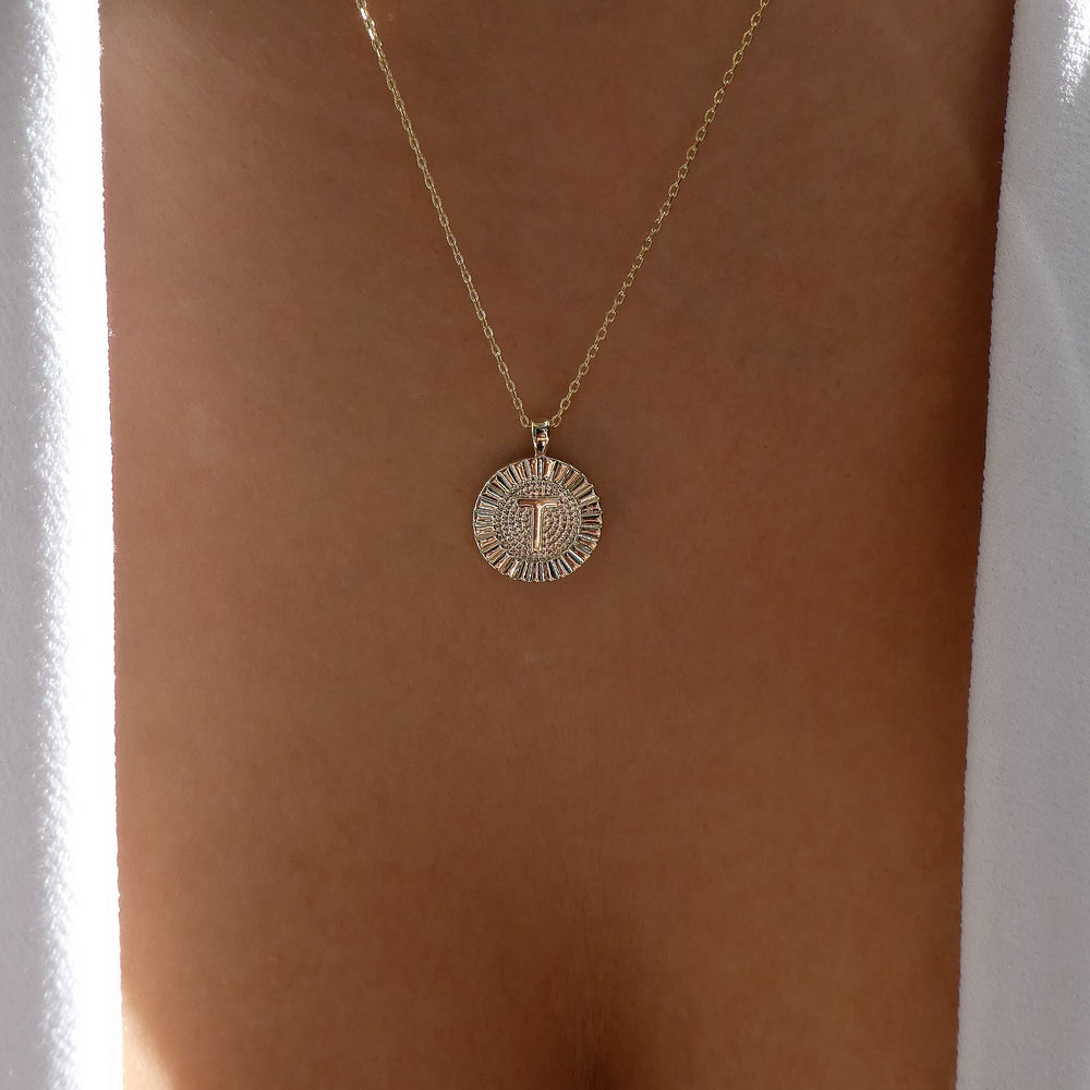 Letter Coin Necklace (T)