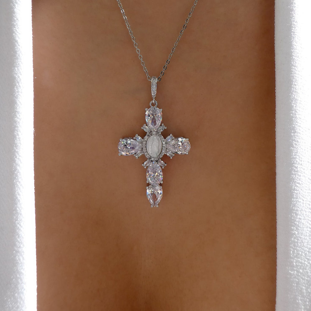 Silver Mary Cross Necklace