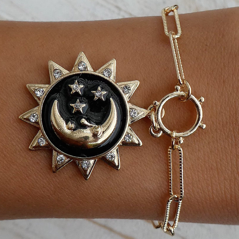Black Moon Coin Bracelet