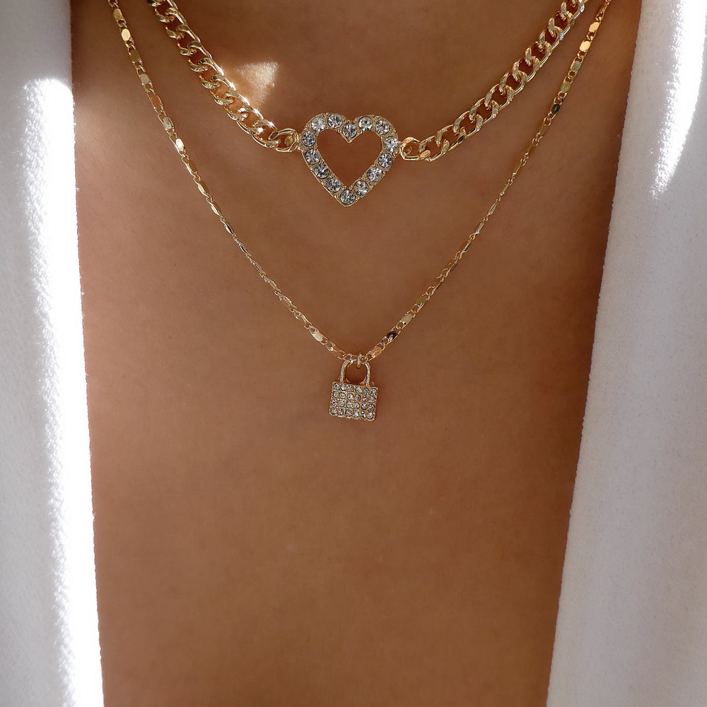 Annikah Heart & Lock Necklace Set