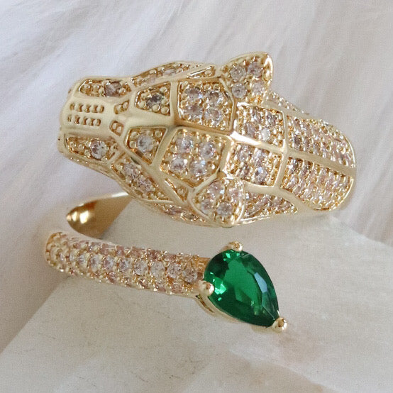 Emerald Panther Ring