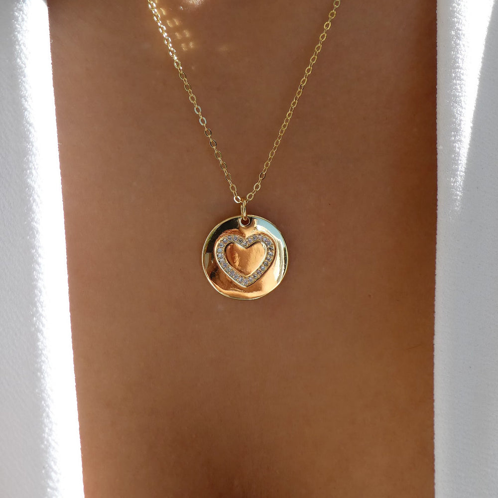 Leah Heart Coin Necklace