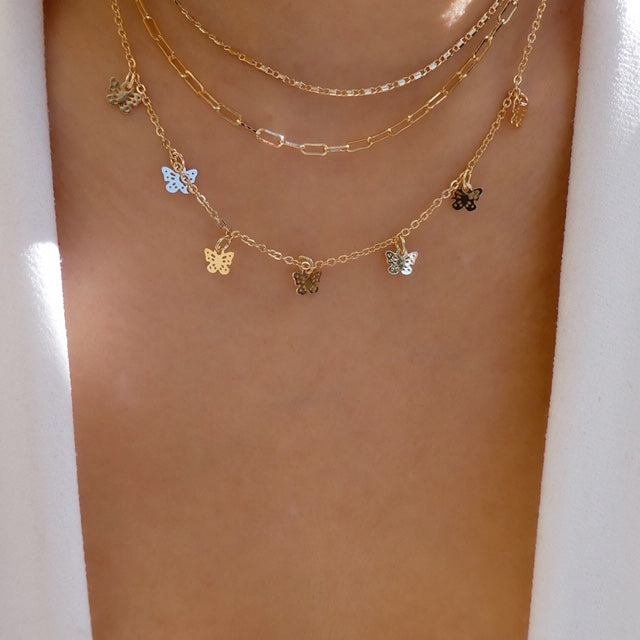 Mini Butterfly Layer Necklace Set
