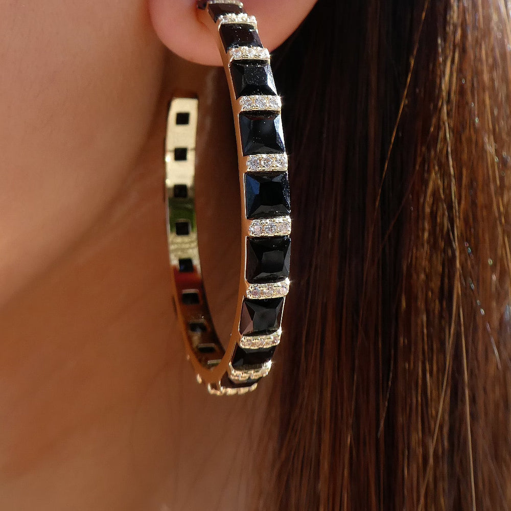 Black Crystal Janey Hoops