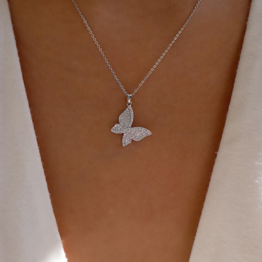Anna Butterfly Necklace (Silver)