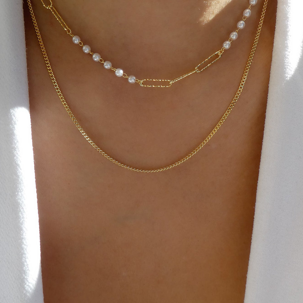 Simple Pearl Link Necklace