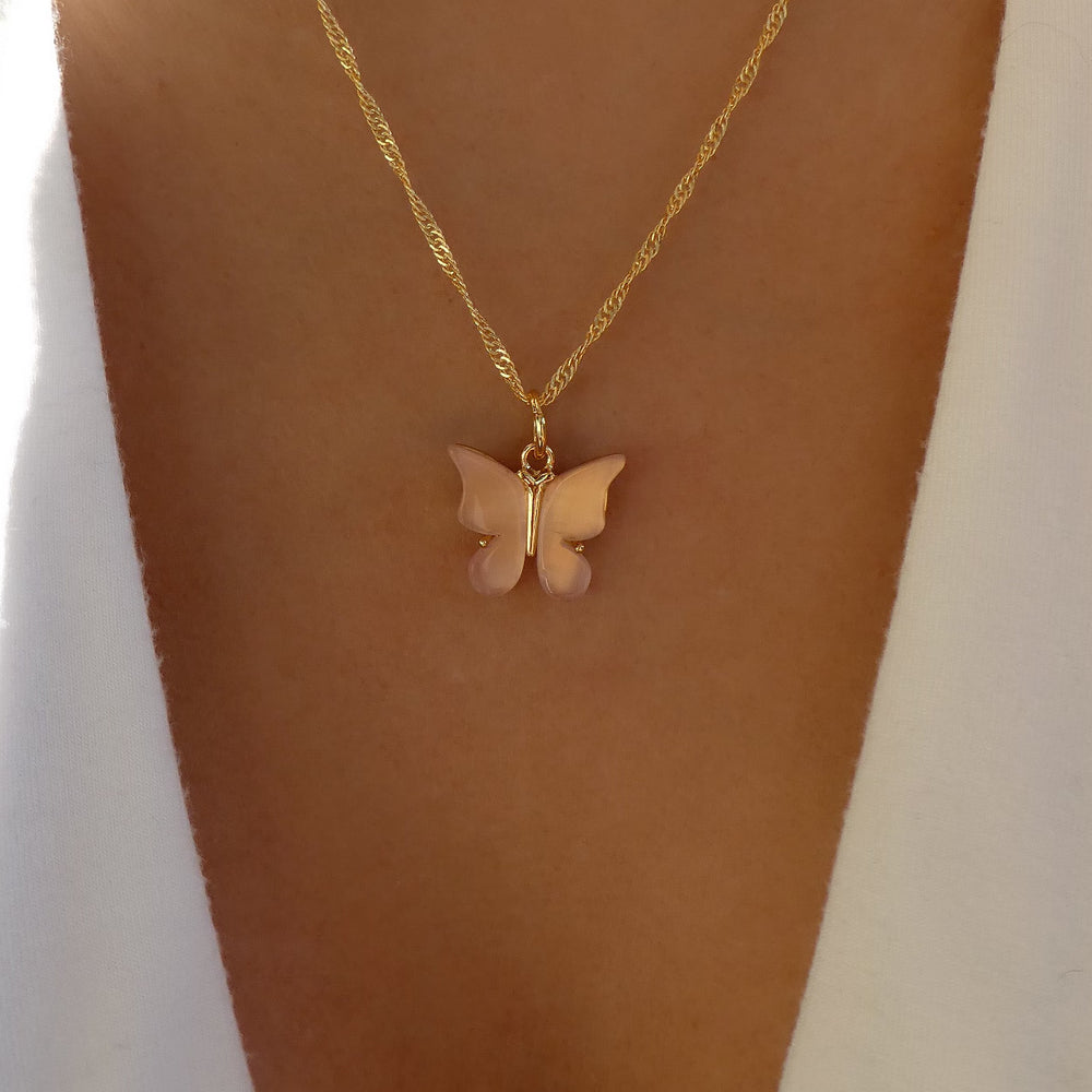 Sofie Butterfly Necklace (Pink)