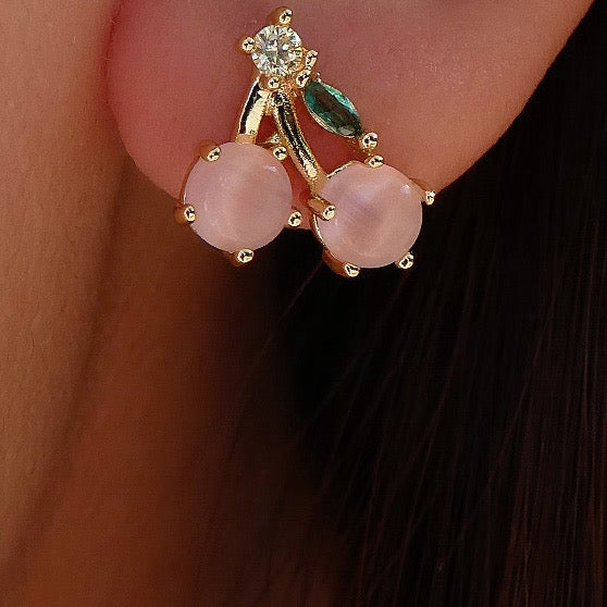 Mini Pink Cherry Earrings
