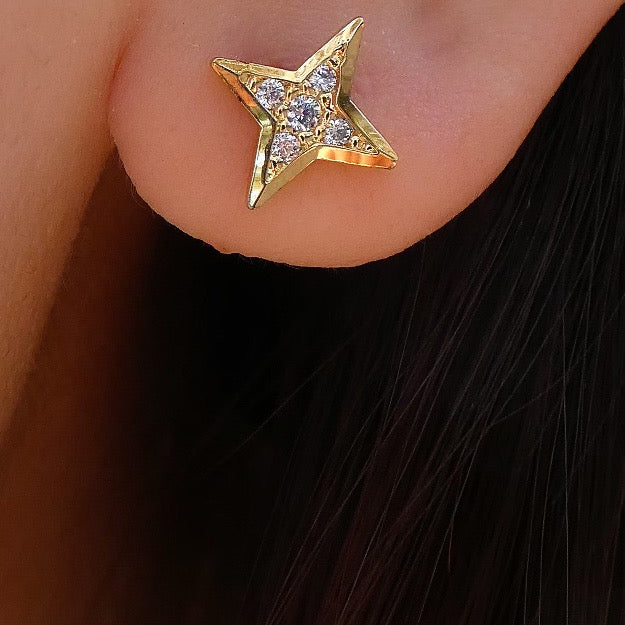 14K Star Earrings