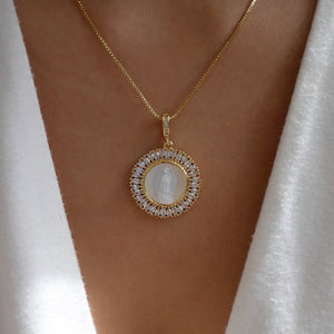 Religious Crystal Coin Necklace