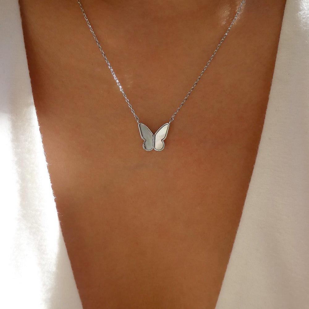 Roni Butterfly Necklace (Silver)