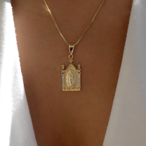 Crystal Mary Temple Necklace