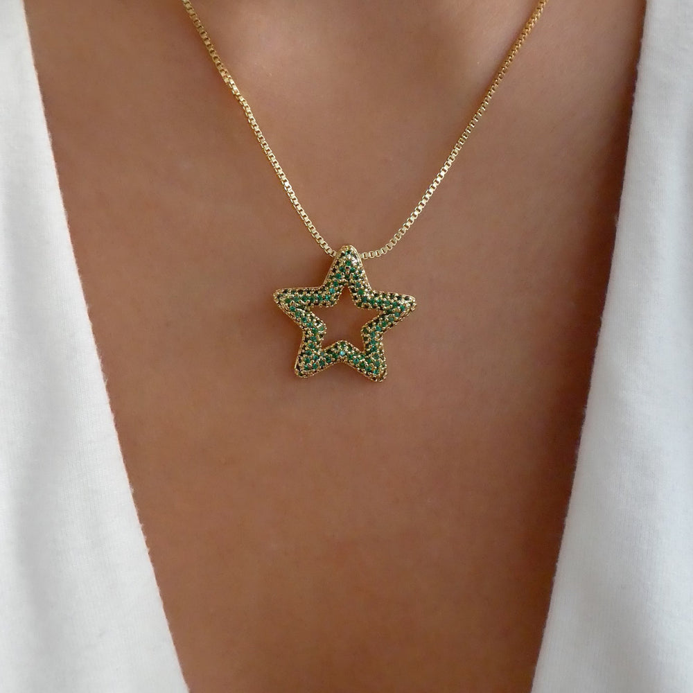 Daria Star Necklace (Emerald)