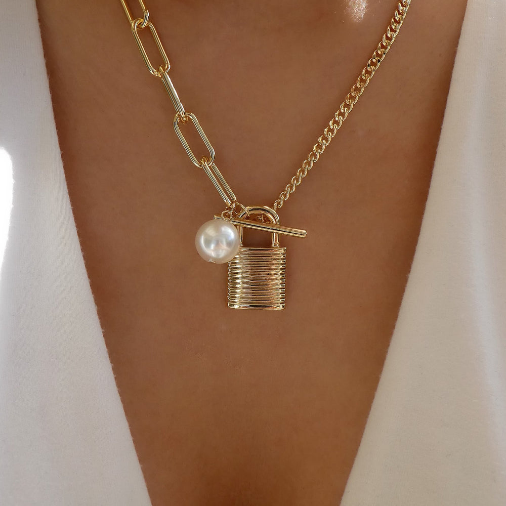 Lock & Pearl Necklace