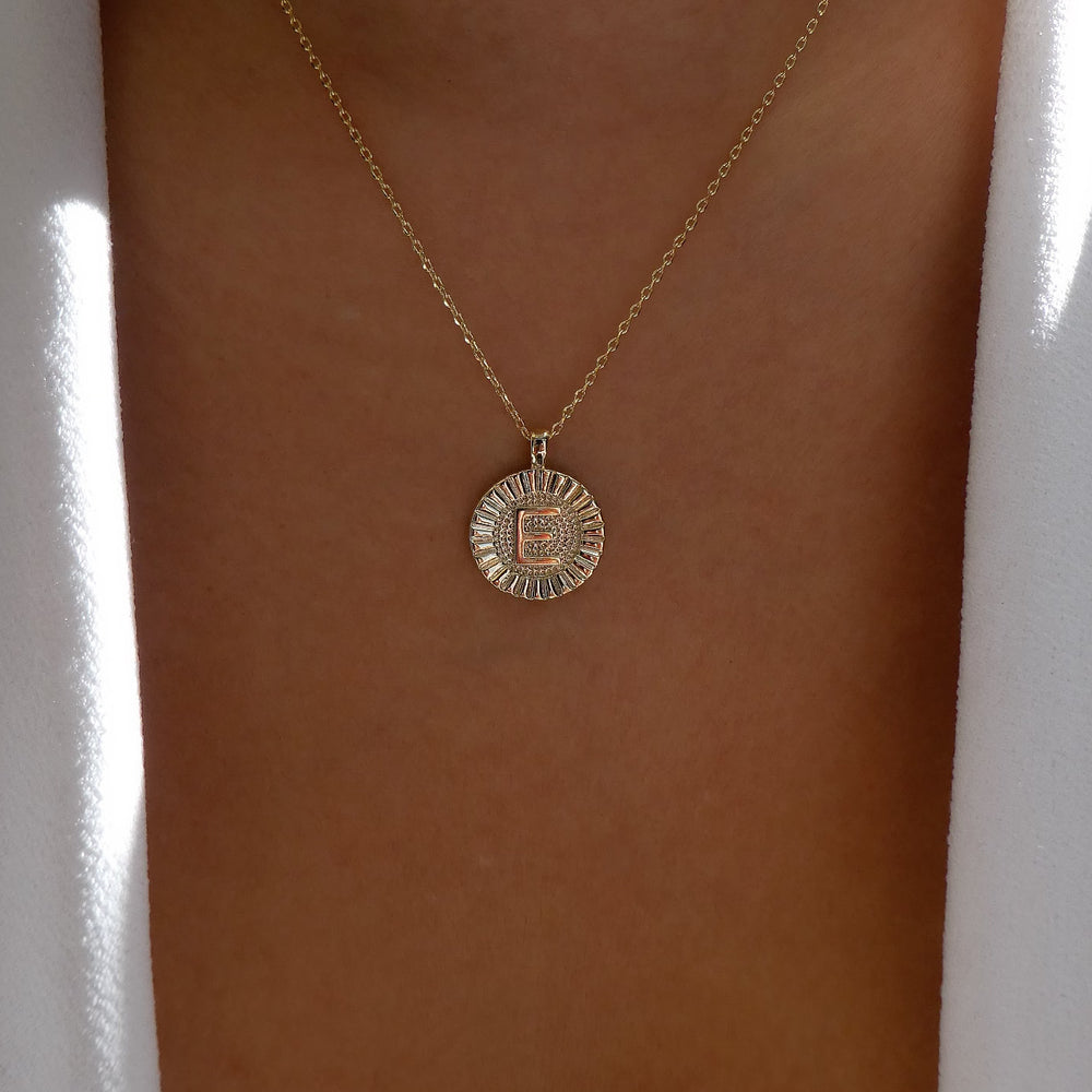 Letter Coin Necklace (E)