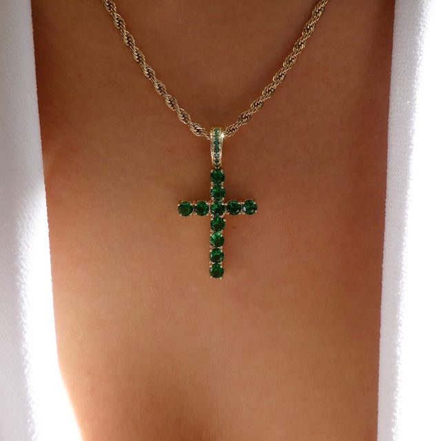 Emerald Cross & Chain Necklace
