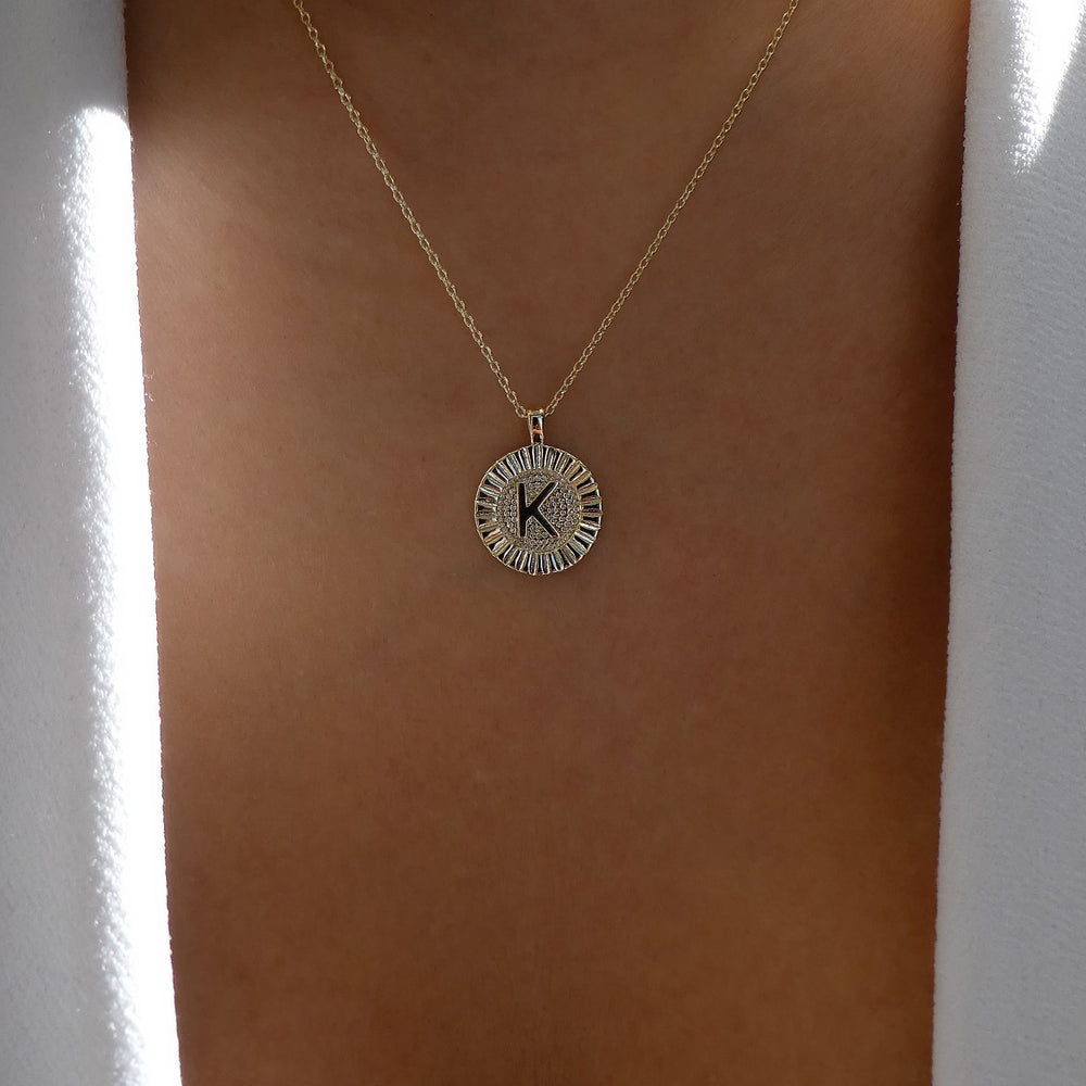 Letter Coin Necklace (K)