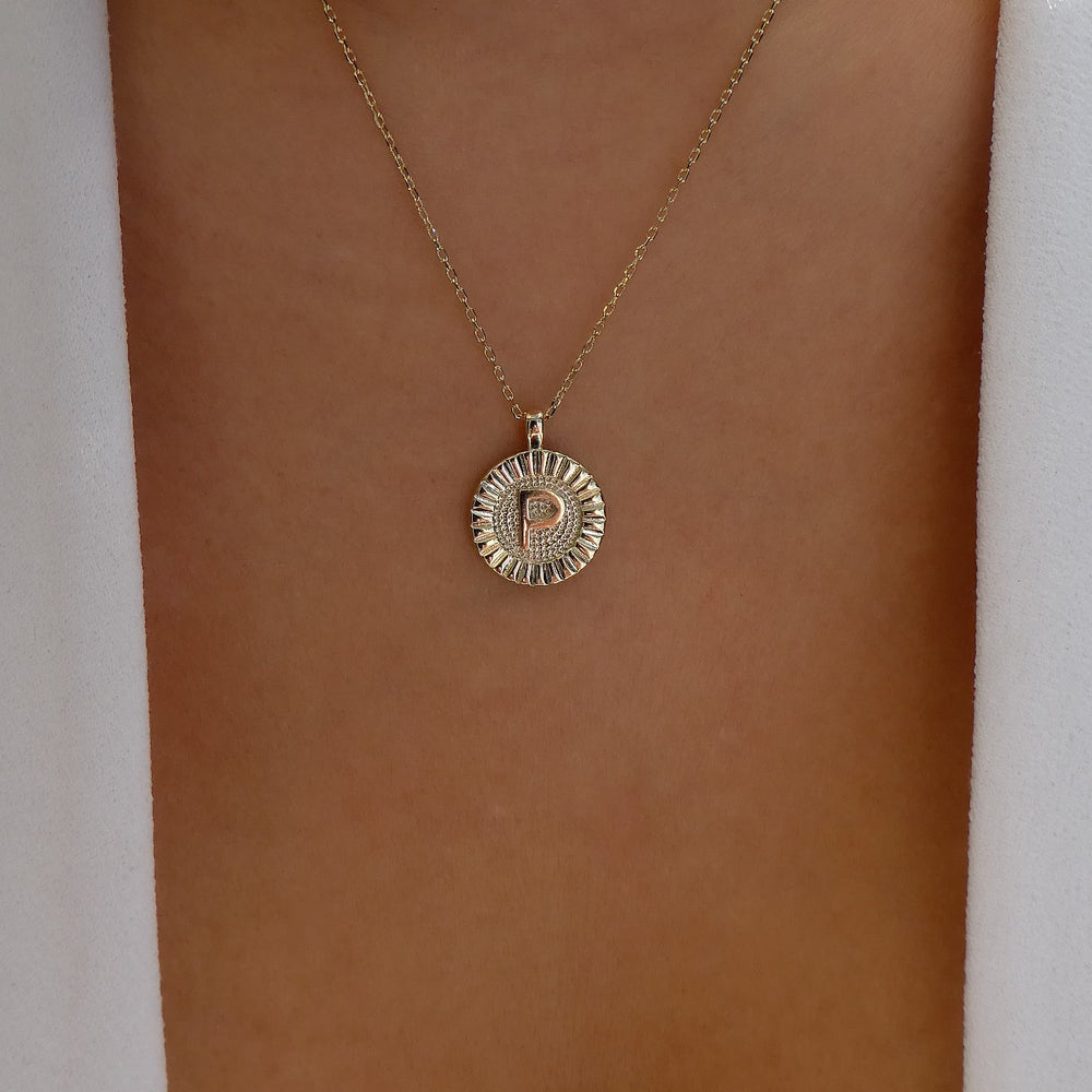 Letter Coin Necklace (P)
