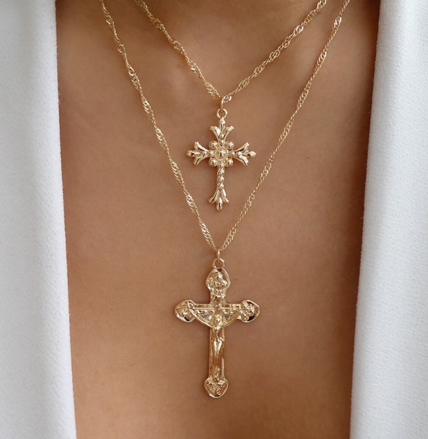 Double Cross Necklace Set