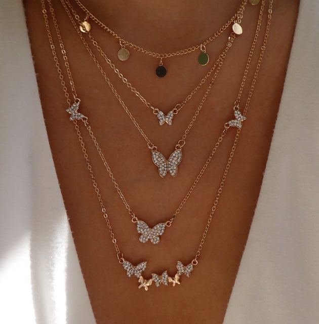 Molten Butterfly Necklace Set