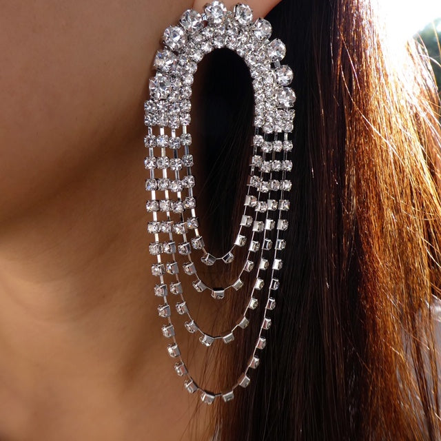 Silver Crystal Kammie Earrings