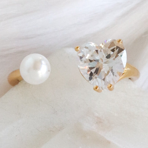 Heart & Pearl Ring