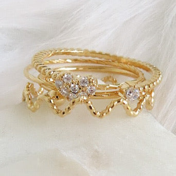 Elyse Heart Ring Set