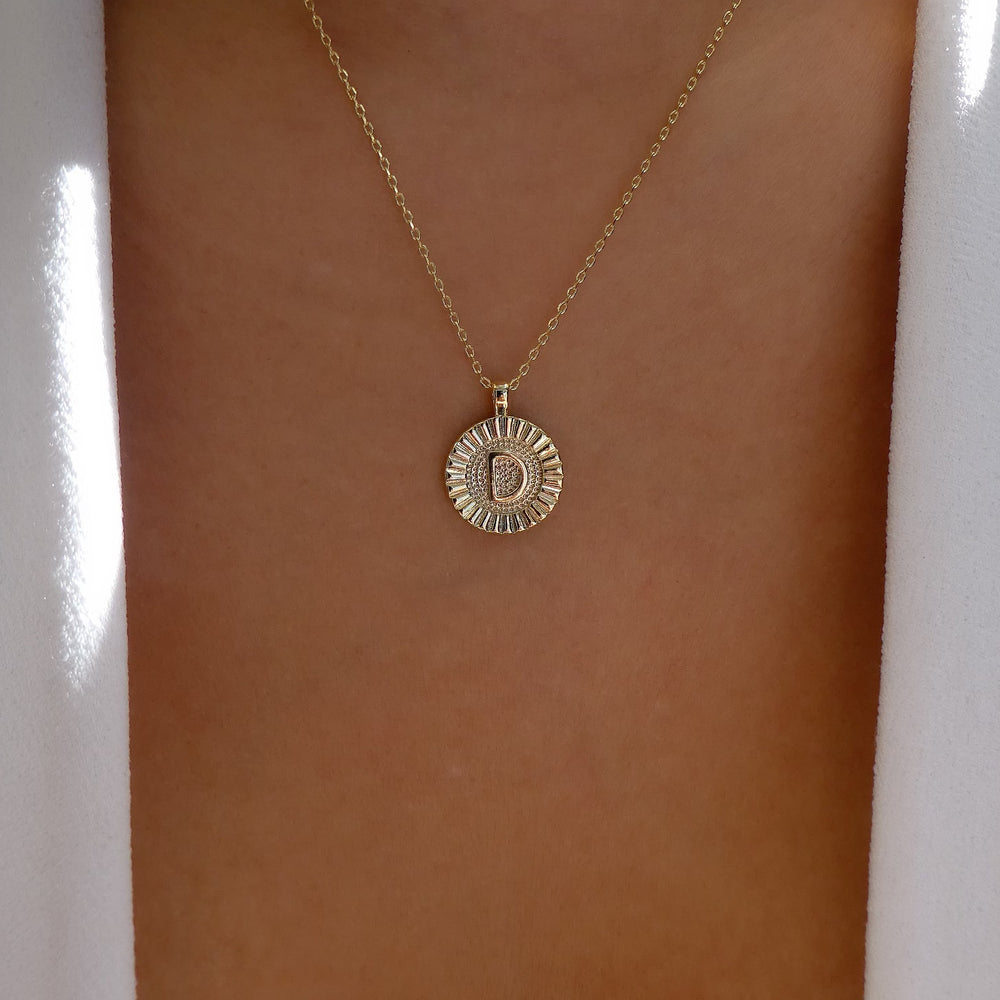 Letter Coin Necklace (D)
