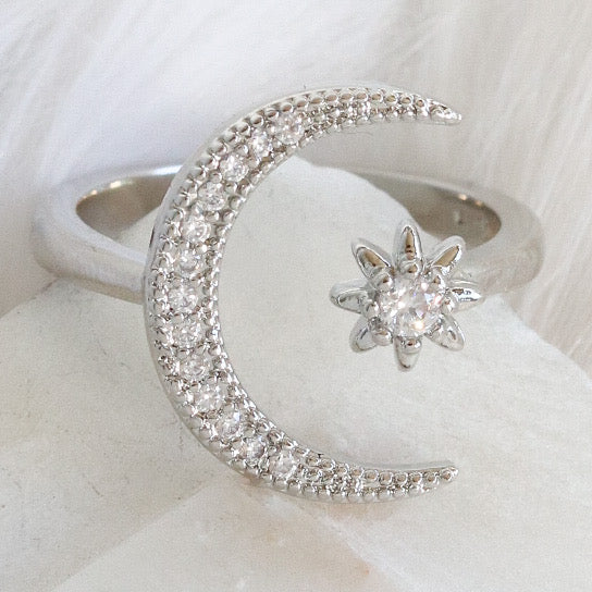 Silver Moon & Star Ring