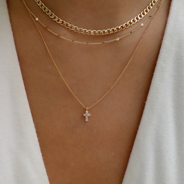 Mariion Cross & Chain Necklace Set