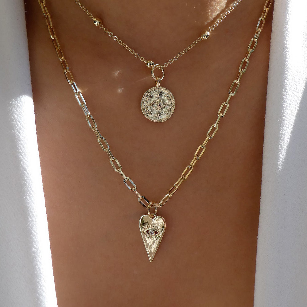 Heart & Coin Necklace Set