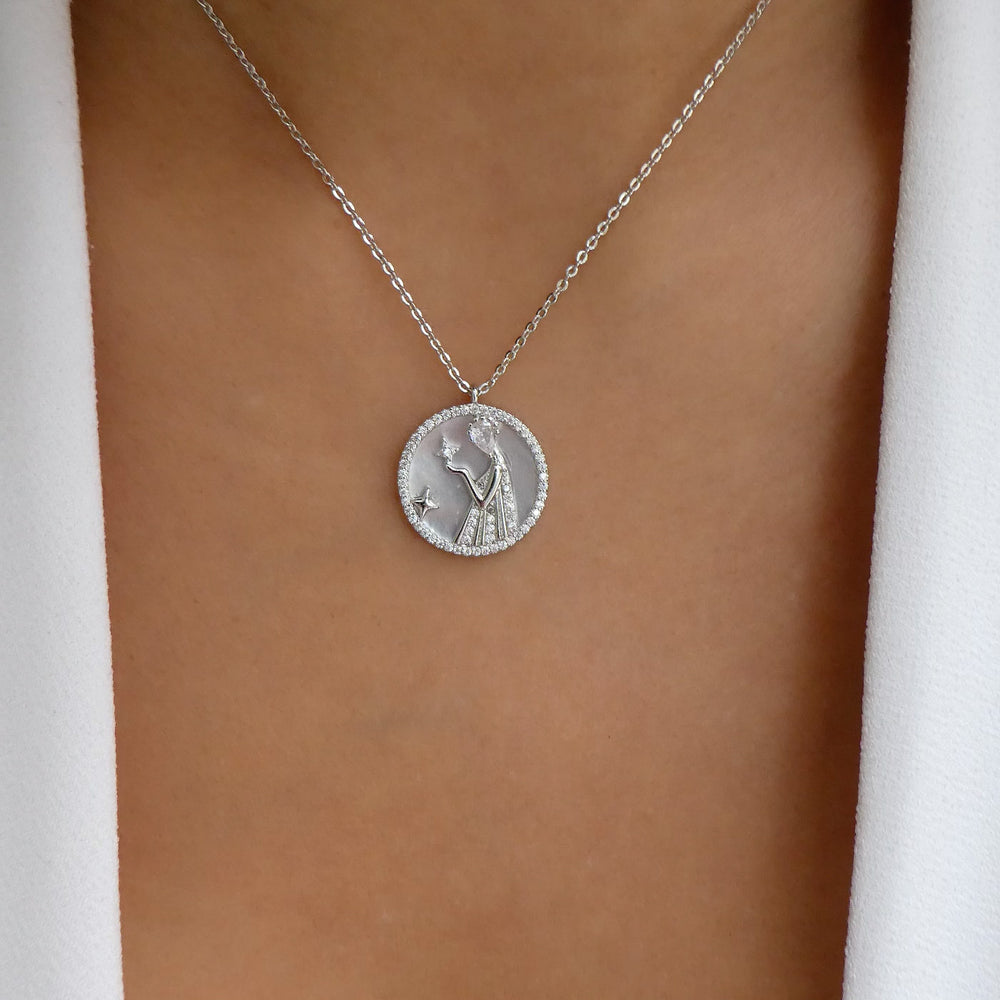 Silver Ali Zodiac Necklace (Virgo)