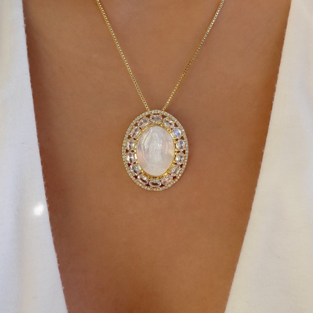 Mary Coin & Crystal Necklace