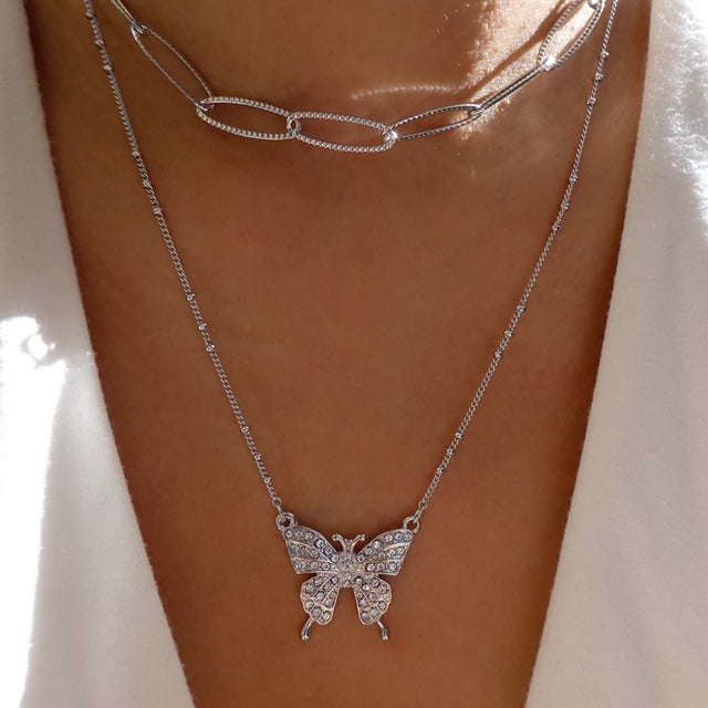 Julie Butterfly & Chain Necklace (Silver)