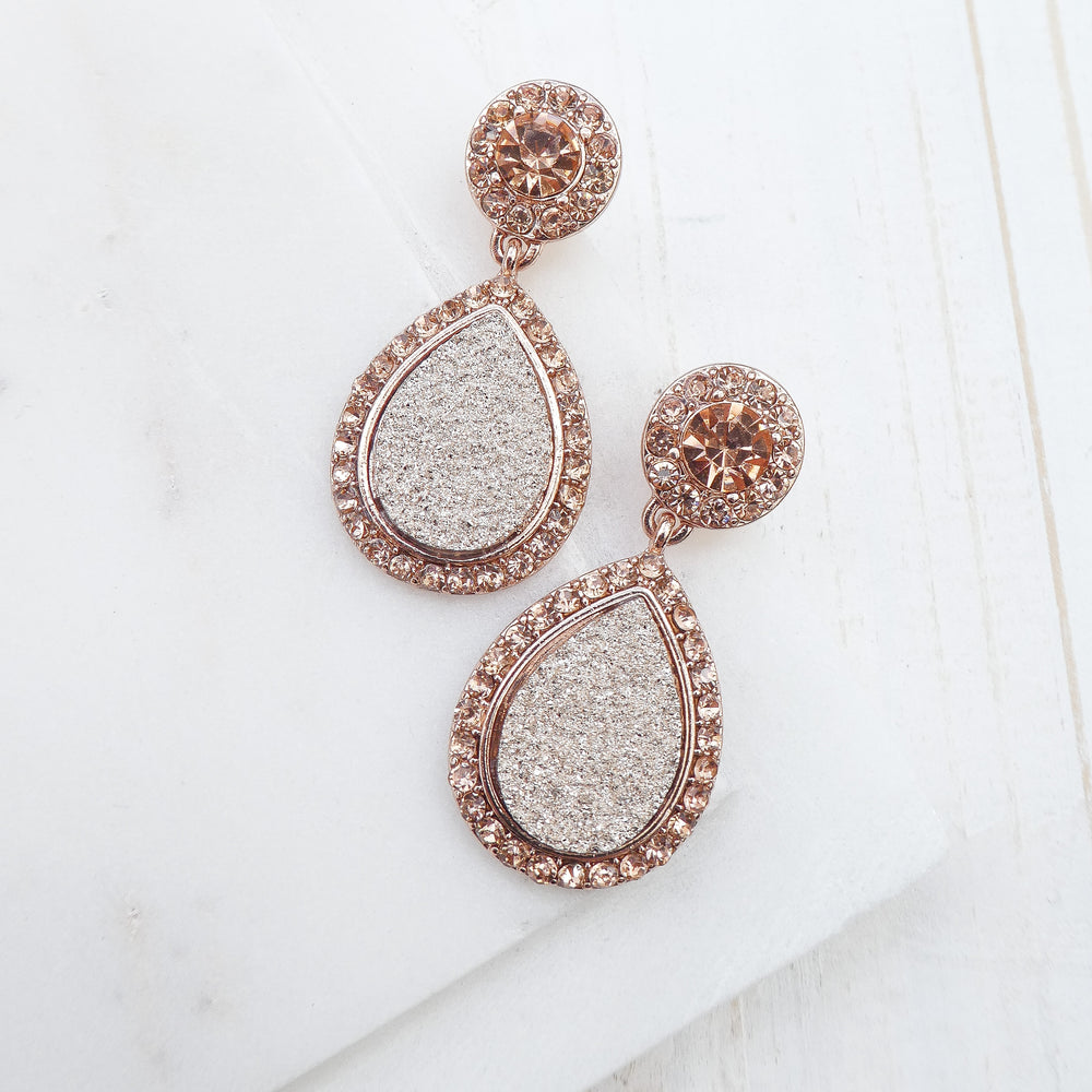 Rose Gold Druzy & Crystal Earrings