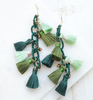 Emerald Tossa Tassel Earrings