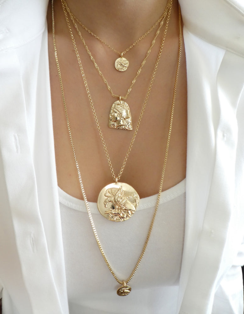 Gold Coin Touche Necklace Set