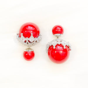 Double Pearl Studs (Red)