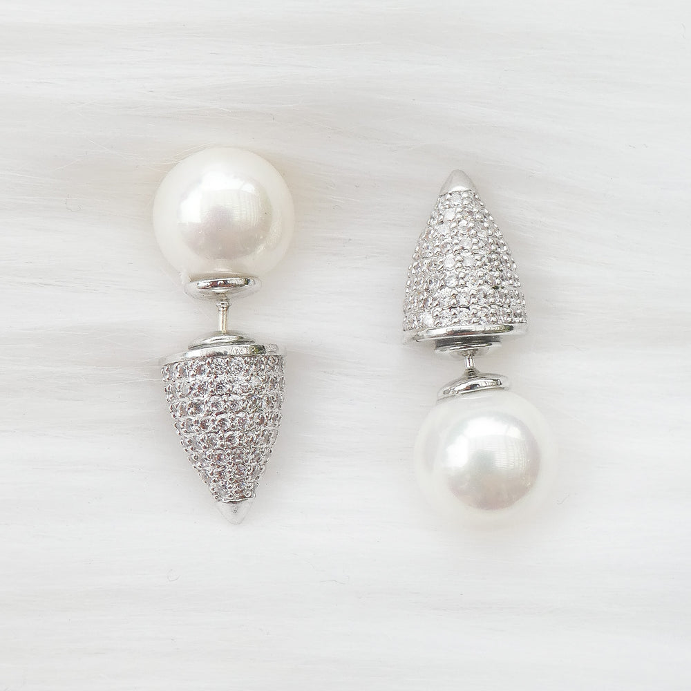 Crystal Pearl Point Earrings