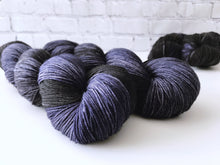 Load image into Gallery viewer, Darkest Night on Evergreen Sock Weight Superwash Merino Wool and Nylon Blend Yarn - The Handmaker's Bag