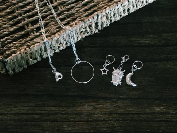 The Moon and the Stars - Progress Keeper/Stitch Marker Set - The Handmaker's Bag