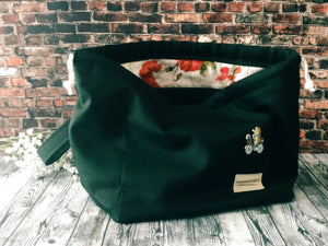 Black with Poppies Road Trip Bag - Canvas Drawstring Project Bag