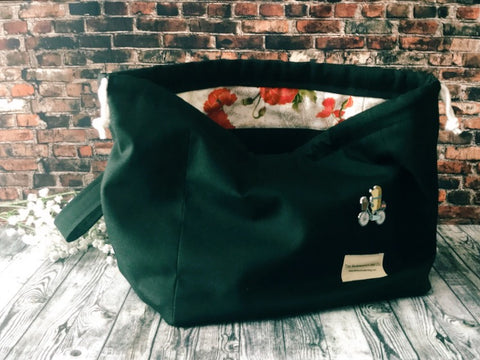 Black with Poppies Road Trip Bag - Canvas Drawstring Project Bag - The Handmaker's Bag