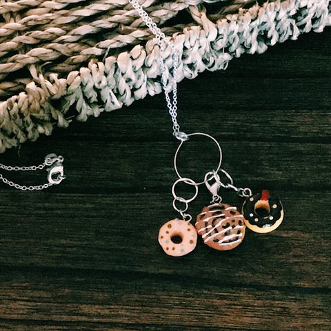Sweet Treats Charm Necklace - Progress Keeper/Stitch Marker Interchangeable Necklace - The Handmaker's Bag