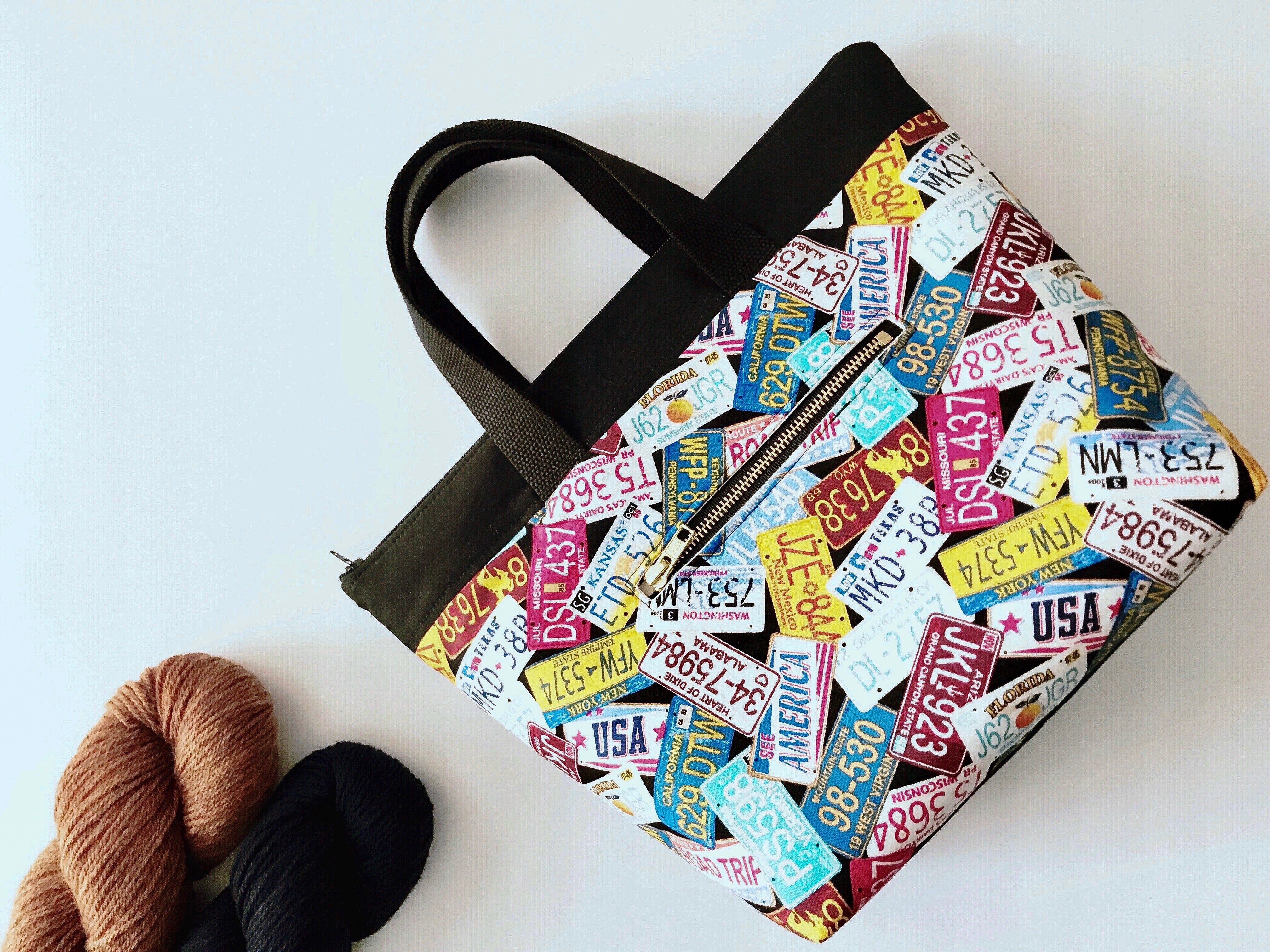 Take Along Tote:  Great Summer Road Trip License Plate Edition Zippered Project Bag - The Handmaker's Bag