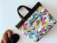 Load image into Gallery viewer, Take Along Tote:  Great Summer Road Trip License Plate Edition Zippered Project Bag - The Handmaker's Bag