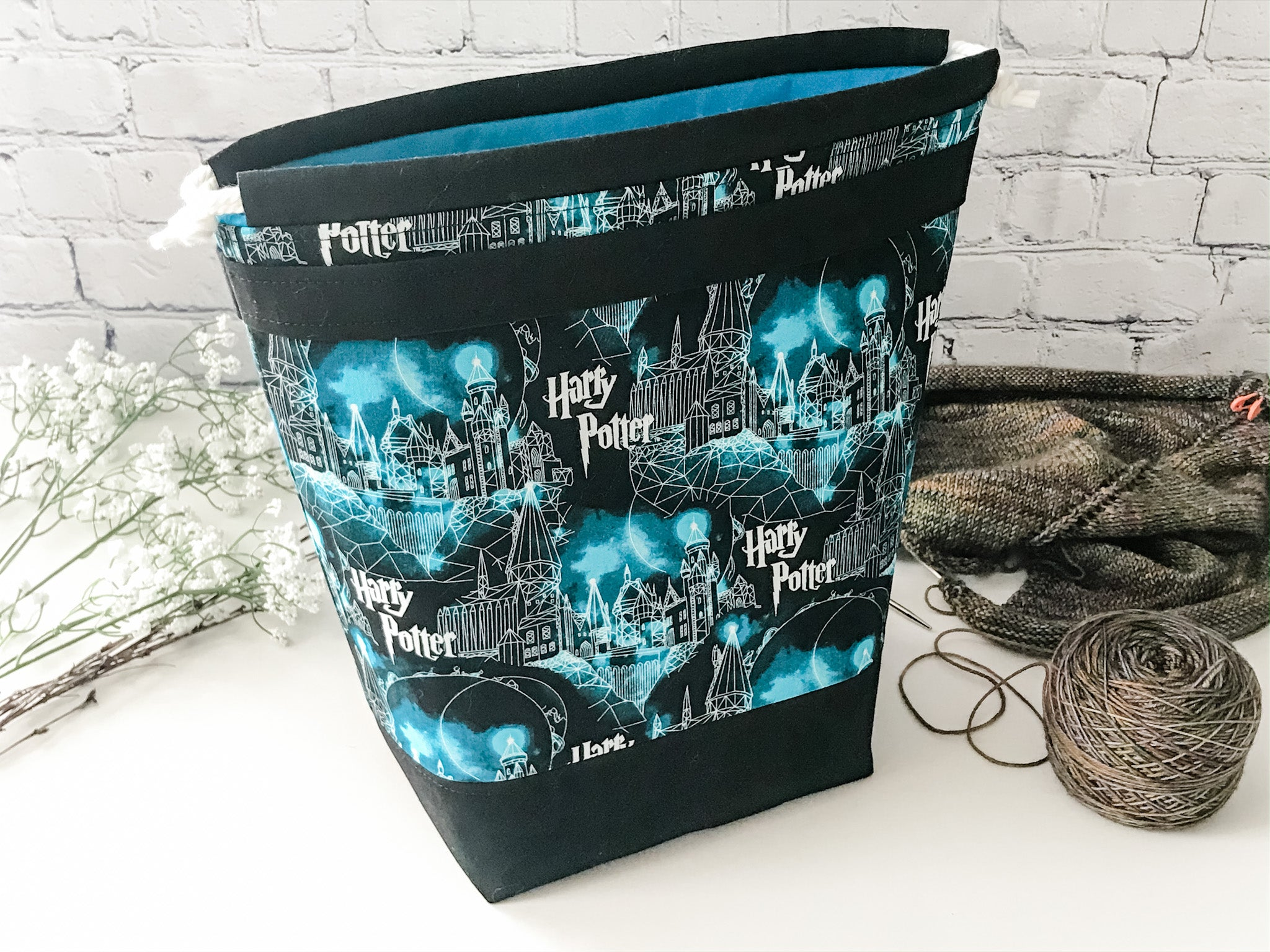 Grab n' Go:  Harry Potter Hogwarts Castle Drawstring Project Bag with Inside Divided Slip Pocket - The Handmaker's Bag