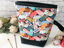 Load image into Gallery viewer, Grab n' Go:  Great Summer Road Trip License Plate Edition Drawstring Project Bag - The Handmaker's Bag